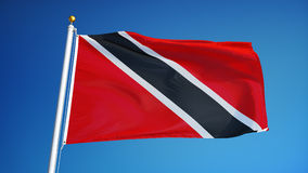 Trinidad and Tobago flag in slow motion seamlessly looped with alpha. Trinidad and Tobago flag waving in slow motion against clean blue sky, seamlessly looped stock video footage