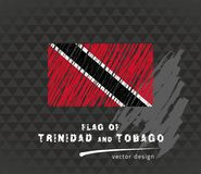 Trinidad and Tobago flag, vector sketch hand drawn illustration on dark grunge background vector illustration