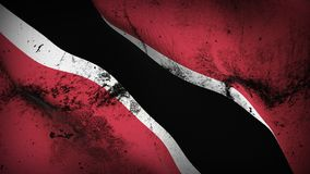 Trinidad and Tobago grunge dirty flag waving on wind. Trinidad and Tobago background fullscreen grease flag blowing on wind. Realistic filth fabric texture on Royalty Free Stock Photo