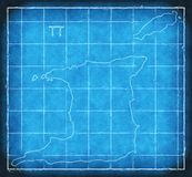 Trinidad and Tobago map blue print artwork illustration silhouette Stock Images