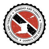 Trinidad and Tobago map and flag in vintage. Royalty Free Stock Photo