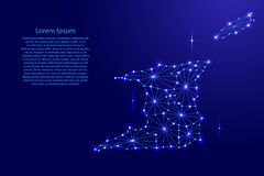 Trinidad and Tobago map of polygonal mosaic lines network, rays, space stars of  illustration. Stock Photography