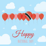 Trinidad and Tobago National Day Flat Patriotic. Trinidad and Tobago National Day Flat Patriotic Poster. Row of Balloons in Colors of the Trinidadian flag Stock Photo