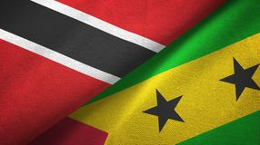 Trinidad and Tobago and Sao Tome and Principe two flags textile cloth. Trinidad and Tobago and Sao Tome and Principe two folded flags together stock illustration