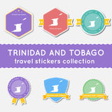 Trinidad and Tobago travel stickers collection. Royalty Free Stock Images
