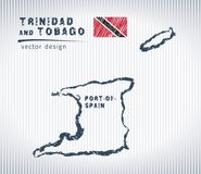 Trinidad and Tobago vector chalk drawing map isolated on a white background royalty free illustration