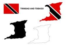 Trinidad und Tobago-Kartenvektor, Trinidad und Tobago-Flaggenvektor, lokalisiertes Trinidad und Tobago Stockfotografie