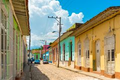 Trinidad Cuba: cobblestone street and colonial architecture. Trinidad was the eighth village founded by Spanish colonizers, nowadays is a UNESCO World Heritage royalty free stock image