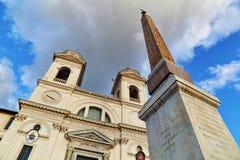 Trinità dei Monti. In Piazza di Spagna in Rome, Italy royalty free stock photo