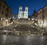 Trinità dei Monti church, spanish steps and Spain square royalty free stock photography