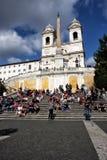 Trinitàdei Monti (教会在罗马-意大利) 库存照片