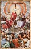 Trinité sainte dans le ciel. Impression de lithographie dans le romanum de Missale - 1937 images stock