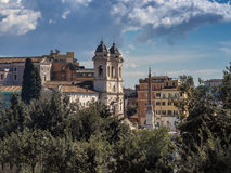 Trinita dei Monti church on the Spanish steps Stock Images