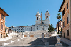 Trinita' dei Monti. Piazza di Spagna with the restored stairway of Trinita dei Monti - Roma, september 2016 royalty free stock image