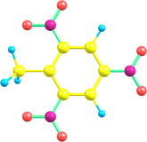 Trinitrotoluene molecular structure on white background Royalty Free Stock Photo
