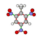 Trinitrotoluene (TNT). Calculated and optimized molecular structure of explosive 2,4,6-trinitrotoluene (TNT Stock Image