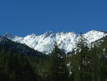 Trinity Alps in Winter. Snow covered ridge in the Northern Trinity Alps region of Northern California Royalty Free Stock Image