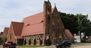 Trinity Anglican Church in Simcoe, Ontario, Canada 4K. The Trinity Anglican Church in Simcoe, Ontario, Canada 4K stock video footage