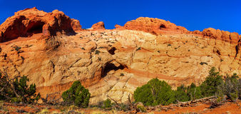 Trinity Arch Panorama. Panoramic Overview Composition of Trinity Arch in Muley Twist Canyon, Capitol Reef National Park, Utah Stock Images