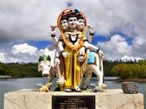 Trinity Brahma Vishnu Shiva, Hindu Gods Temple, Mauritius. Trinity - Brahma - Vishnu - Shiva, Hindu Gods. Holy Hindu Lake, Grand Bassin Temple. Mauritius island stock photography
