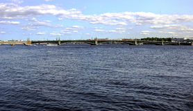 Trinity bridge across the Neva River in St. Petersburg Royalty Free Stock Photography