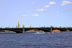 Trinity bridge across the Neva River in St. Petersburg Royalty Free Stock Image