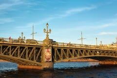 Trinity bridge across the river Neva, Russia Royalty Free Stock Images