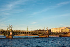 Trinity bridge across the river Neva, Russia Stock Image
