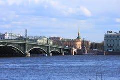 Trinity Bridge. Blue  sky of St. Petersburg Stock Photography