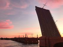 The Trinity Bridge Lifted Up, St. Petersburg - Russia royalty free stock photography