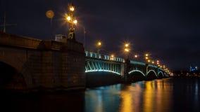 Trinity Bridge, Neva River, St. Petersburg, night shooting. Trinity bridge neva river st petersburg night shooting stock photos