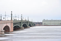 Trinity Bridge and Neva River. Royalty Free Stock Image