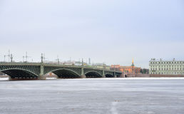 Trinity Bridge and Neva River. Stock Images