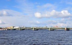 Trinity Bridge and Neva River. Royalty Free Stock Images