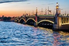 Trinity Bridge at night, Saint Petersburg, Russia royalty free stock image