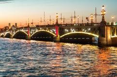 Trinity Bridge at night, Saint Petersburg, Russia stock photography