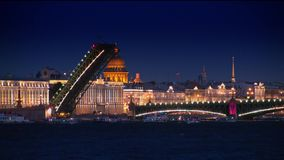 Trinity Bridge at night, St.Petersburg stock footage