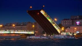 Trinity Bridge at night, St.Petersburg stock video footage