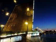 Trinity Bridge at night, St. Petersburg. Russia Royalty Free Stock Photo