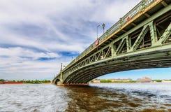Trinity Bridge in Saint Petersburg Russia. Saint Petersburg/Russia – June 8, 2017: View of Trinity Bridge and Neva river royalty free stock image