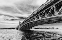 Trinity Bridge in Saint Petersburg Russia in black and white t. Saint Petersburg/Russia - June 8, 2017: View of Trinity Bridge and Neva river in black and white stock photo
