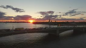 Trinity Bridge in Saint Petersburg. Sunset in Saint Petersburg. Trinity Bridge stock footage