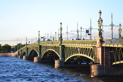 Trinity Bridge in St.Petersburg Royalty Free Stock Images