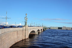 Trinity Bridge in St. Petersburg. Trinity Bridge across the Neva River in St. Petersburg, Russia Stock Photo