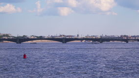 Trinity Bridge in St. Petersburg. One of the bridges over the Neva River stock footage