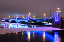 Trinity bridge in St Petersburg, Russia Stock Photos