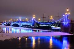 Trinity bridge in St Petersburg, Russia Stock Photos