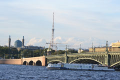 Trinity Bridge in St. Petersburg. Stock Photo