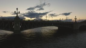 Trinity Bridge. St. Petersburg, Russia. Russia. Sunset in the city. Evening stock footage