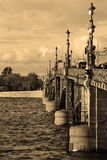 Trinity Bridge in St.Petersburg. Sepia Royalty Free Stock Photography